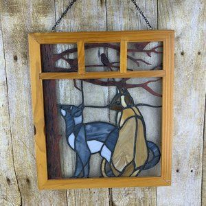 Vintage Cat Stained Glass Window Hanging Framed